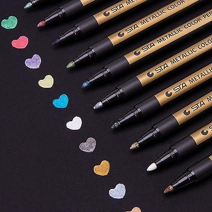Metallic Marker Stifte Set, ANYUKE 10 Farben Permanent Brush Pen für Fotoalbum zum Selbstgestalten, Gästebuch, Scrapbook, Gol
