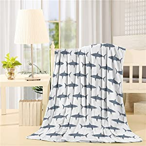 SIGOUYI Lightweight Fleece Blankets Reversible Throw Cozy Plush Microfiber All-Season Blanket for Bed/Couch - Twin 50x60 Inch, Sea Fish Shark