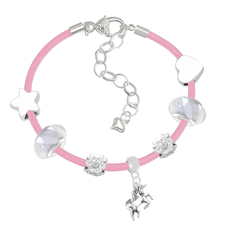 Girls Unicorn Pink Leather Charm Bracelet Set and Greeting Card Gift Box Set Jewellery Charm Buddy KNB Ch-71 Q-40 PINK-