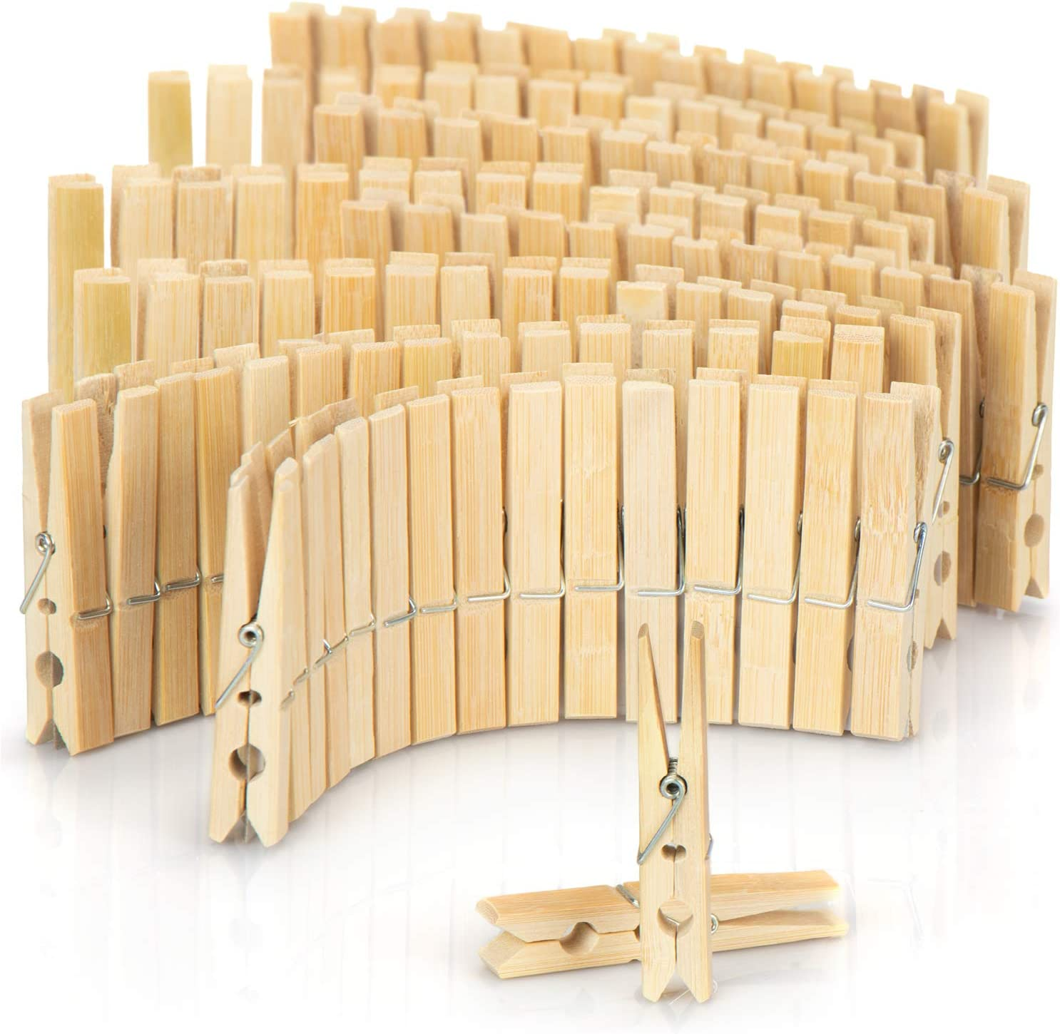 120 pieces - bamboo com-four/® 120x Clothes pegs made of wood wooden pegs made of bamboo Clamps for hanging clothes