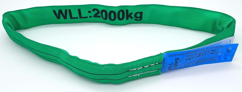 2000 kg// 2 m Umfang ENorm1492-2 Lot de 2 sangles de levage 2 t 2000 kg Vert