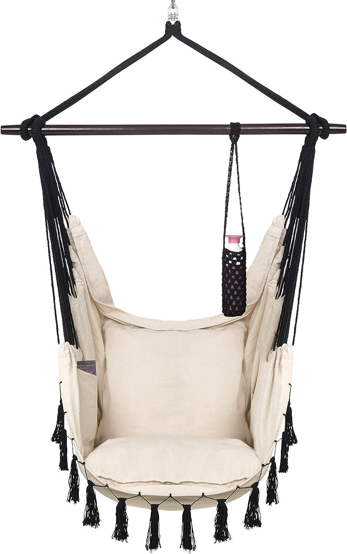 VITA5 Silla Colgante con 2 Cojines, Portavasos y Compartimento para Libros - Sillon Colgante XXL - Carga hasta 150 kg - Silla Hamaca Colgantes para Interior y Exterior (jardín) - (Beige)