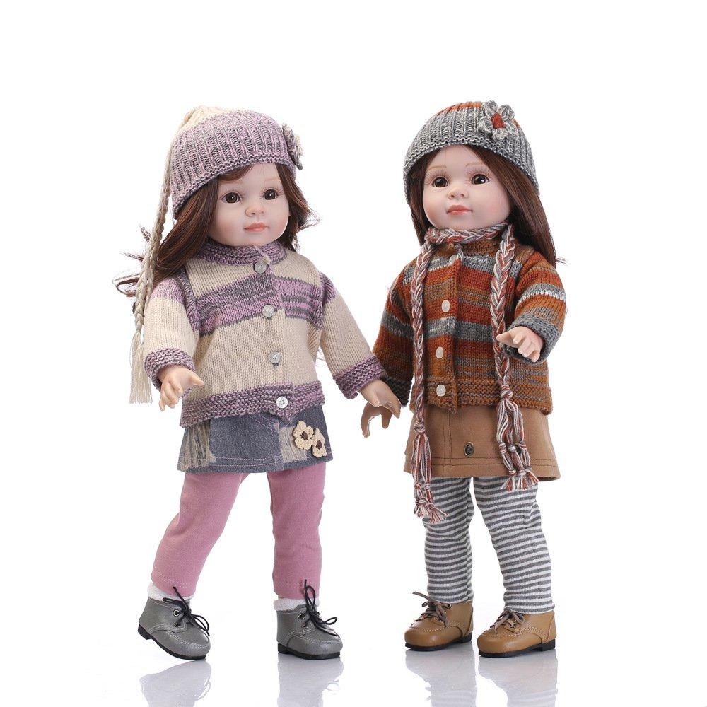 QXMEI Süße Spielzeug Mädchen Reborn Soft Silikon Puppe 22 Zoll 55 cm Realistische Reborn Puppe,Apair Apair