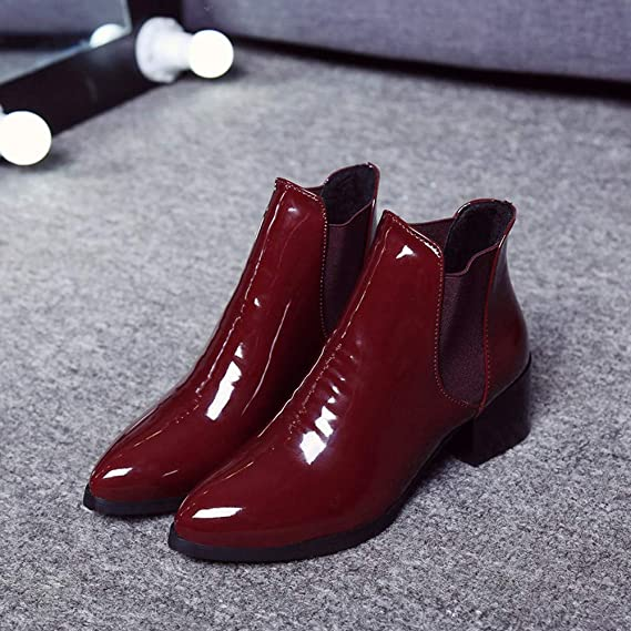 ASERTYL Fashion Women Elasticated Patent Leather Boots Pointed Low Heel Boots Elastic Band Ankle Boots at Amazon Womens Clothing store: