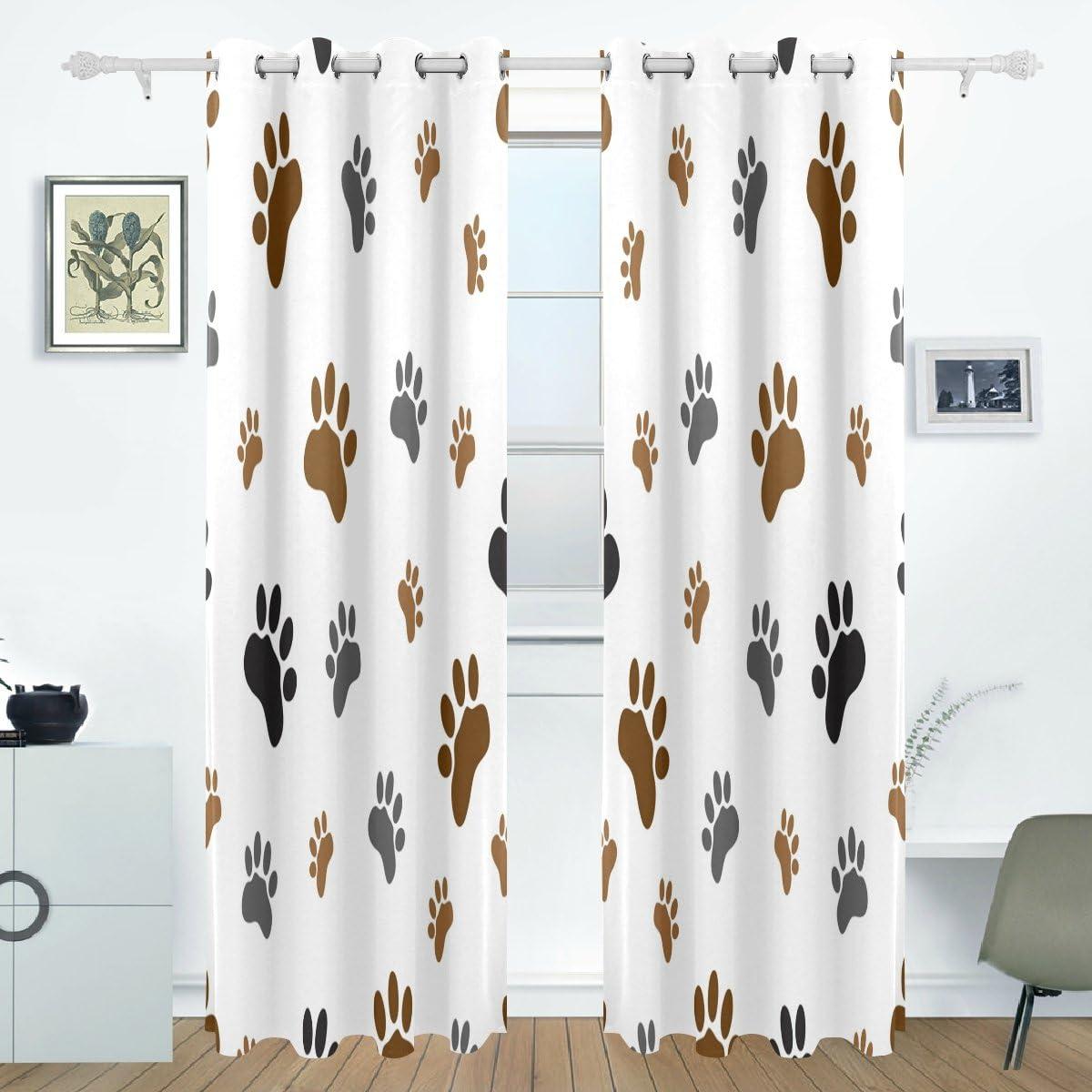WOZO Animal Dog Paw Print Window Curtain Panels Drape 84 x 55 Inches, 2-Piece Blackout Room Darkening Curtains Window Panel for Living Room Bedroom