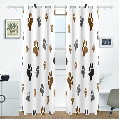 WOZO Animal Dog Paw Print Window Curtain Panels Drape 84 x 55 Inche