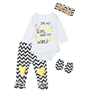 4PCS Baby Girls Mother's Day Heart Letter Print Long Sleeve Striped Pants Outfit Set (3-6 Months)