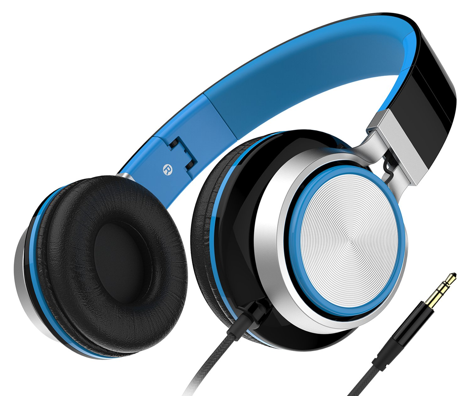 Headphones, Honstek Foldable and Lightweight On-Ear headphone, Stereo Wired Comfortable Headset for iPhone iPad Android Cellphones Computer Tablets MP3/MP4 (Black/Blue) by Honstek