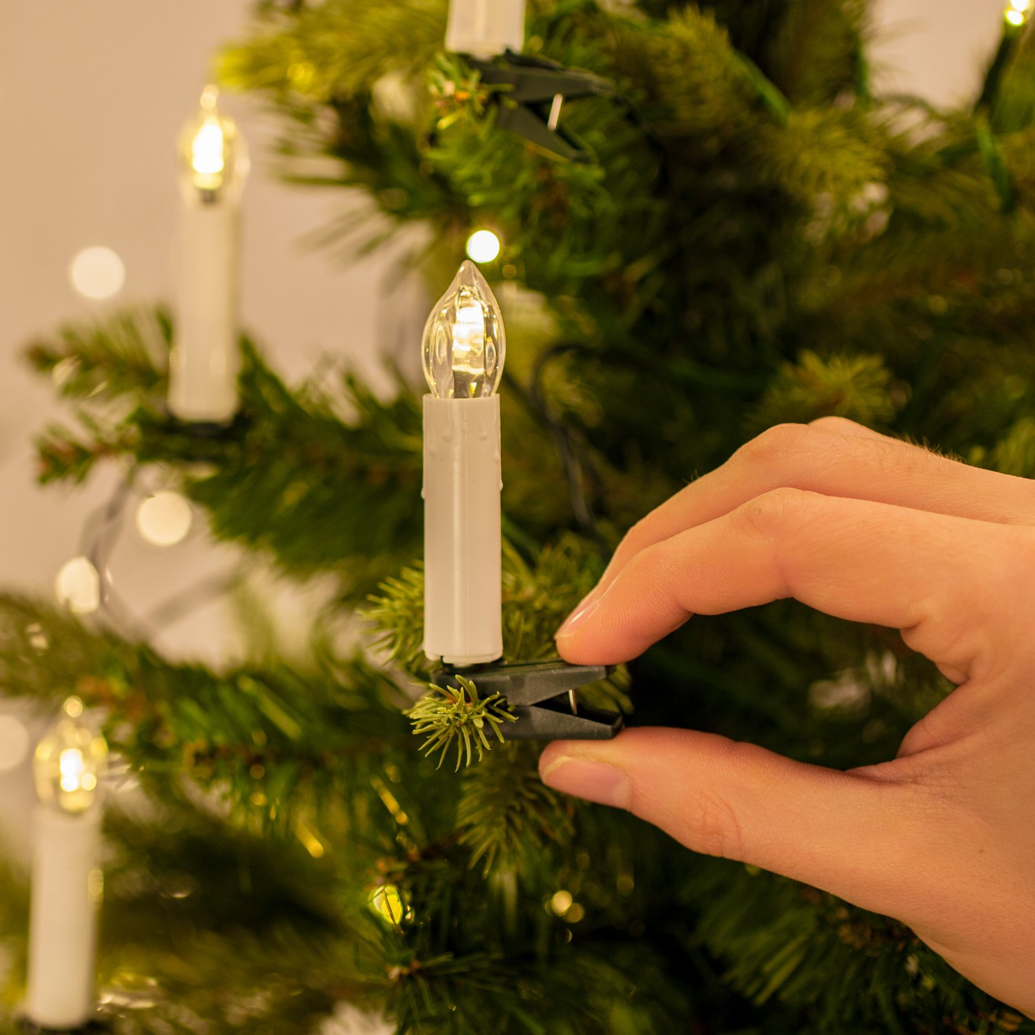 50 led christmas tree fairy light candles for indoors cream pack of 1 amazoncouk kitchen home