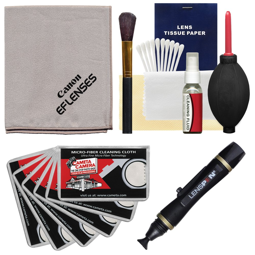 Canon Optical Digital Camera & Lens Cleaning Kit (Brush, Fluid & Tissue) with Lenspen + Blower + 6 Microfiber Cleaning Cloths for EOS 6D, 70D, 7D, 5DS, 5D Mark II III, Rebel T5, T5i, T6i, T6s, SL1 by Canon