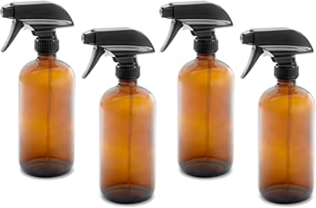 4 pack of 16oz Empty Amber Dark Brown Glass Spray Bottles w/Labels, Caps, and Funnel - Mist & Stream Trigger Sprayer - BPA Free - Boston Round Heavy Duty Bottle - For Essential Oils, Cleaning, Kitchen, Hair