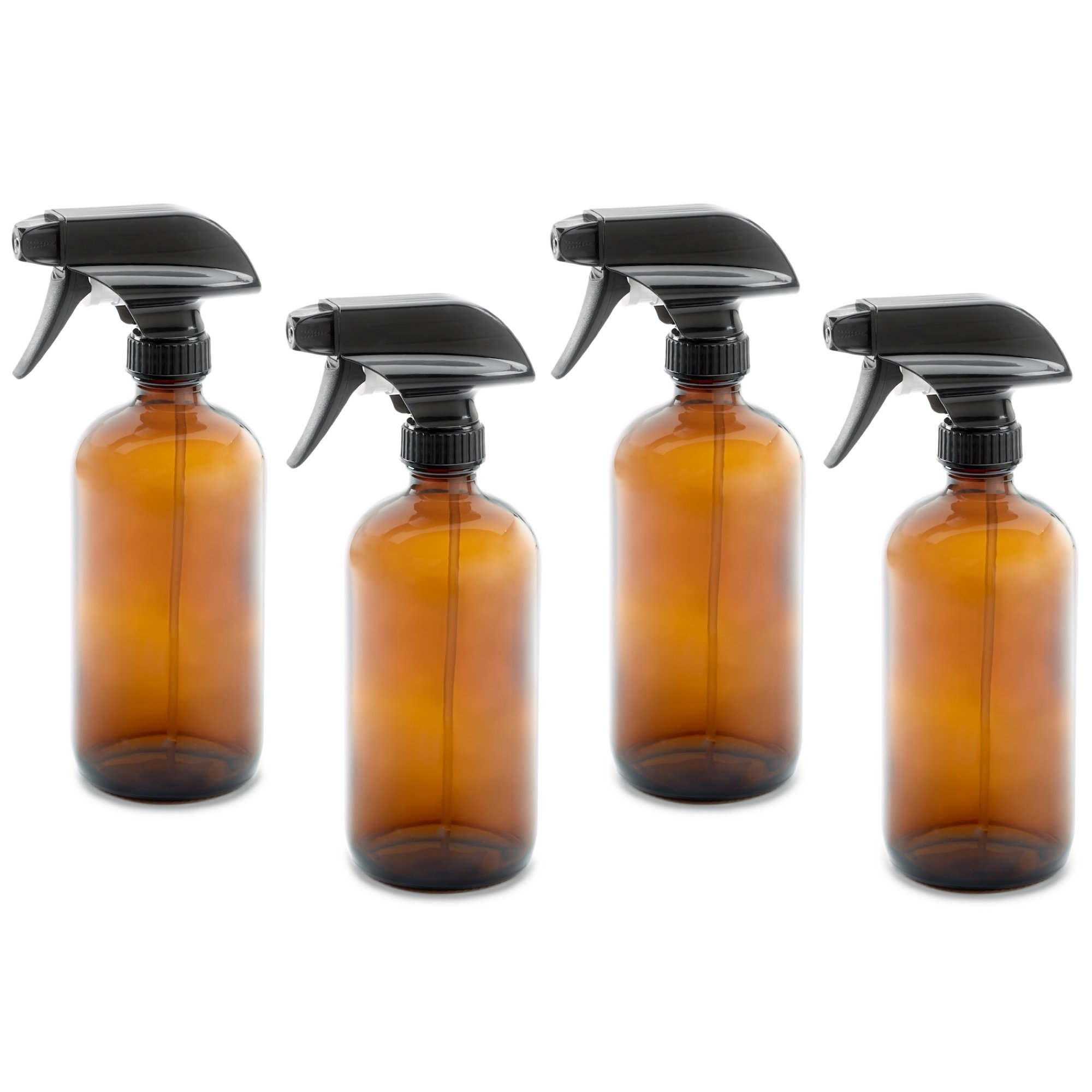 16oz Empty Amber Dark Brown Glass Spray Bottles w/Labels, Caps, and Funnel - Mist & Stream Trigger Sprayer - BPA Free - Boston Round Heavy Duty Bottle - For Essential Oils, Cleaning, Kitchen, Hair