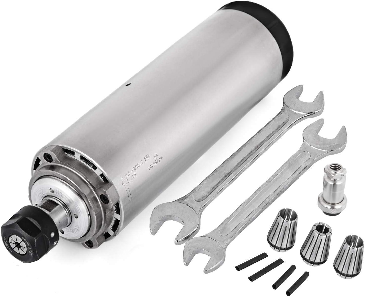 VEVOR Air Cooled Spindle Motor ER20 CNC Spindle Milling Motor 2.2KW Spindle Motor 24000 RPM 400 Hz for CNC Router Engraving Milling Grind Machine(220V)
