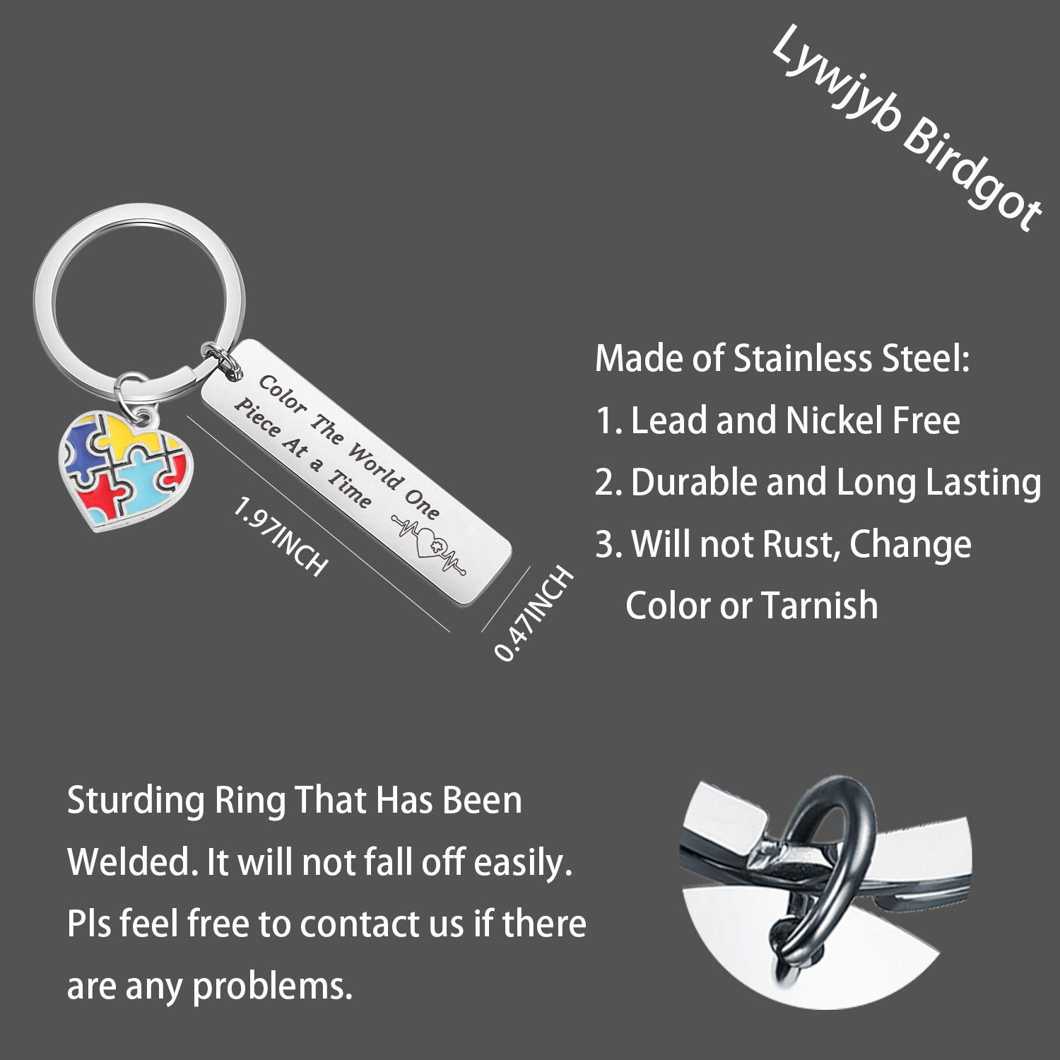 Lywjyb Birdgot Autism Moms Gift Autism Awareness Keychain Autism Speaks Gift Autism Support Gift Color The World One Piece at A Time Keychain Autistic Pride Gift for Mom