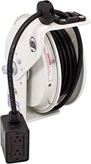 product image for KH Industries RTB Series ReelTuff Power Cord Reel, 12/3 SJOW Black Cable and Four Receptacle Outlet Box, 20 Amp, 50' Length, White Powder Coat Finish