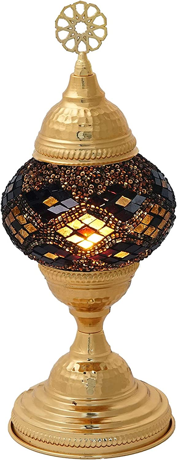 LaModaHome Turkish Moroccan Handmade Mosaic Glass Table Lamp Light with Decorative Golden Colored Polished Shiny Copper Fixture for Bedroom, Livingroom and Winter Garden, Moon Orchid