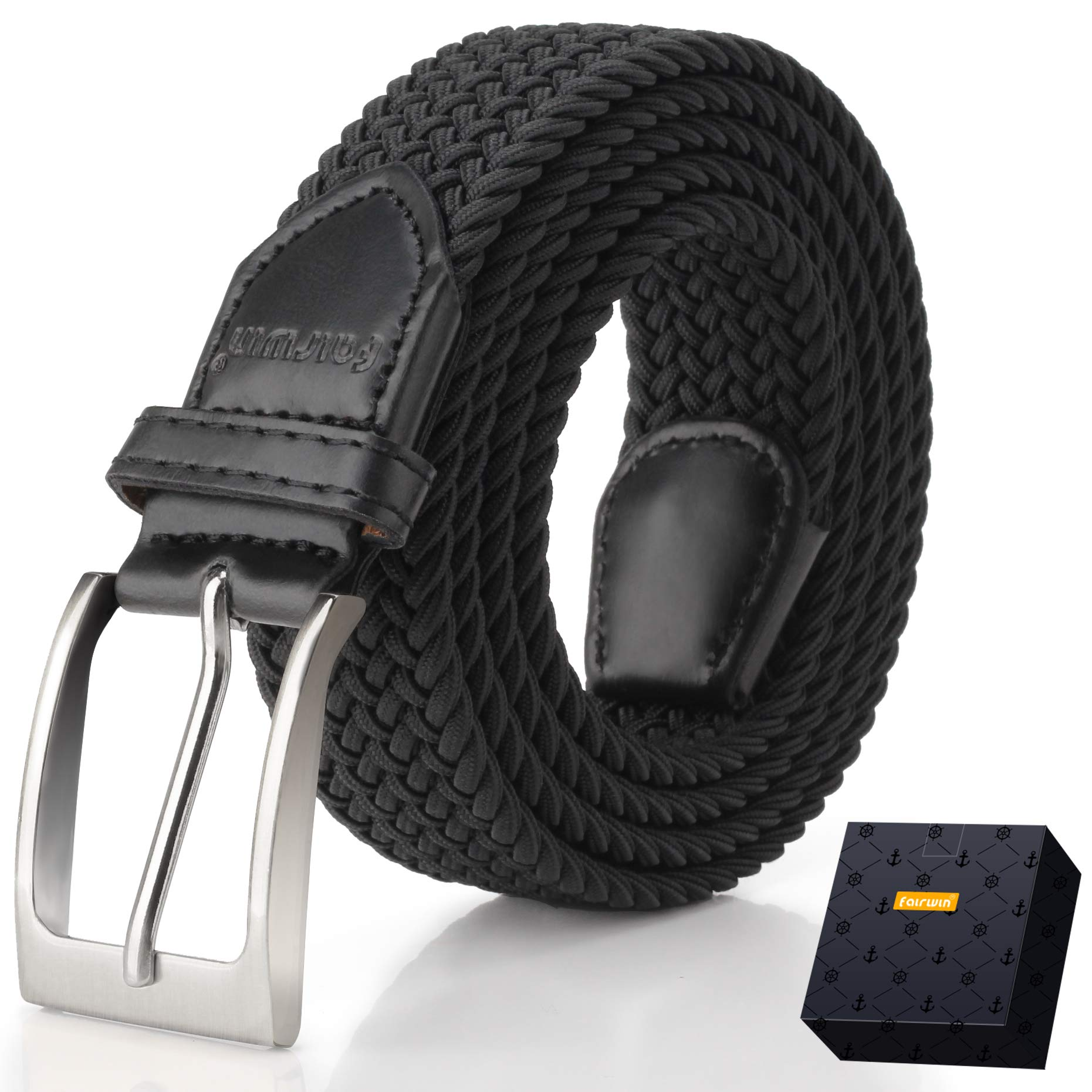 Elastic Braided Belt, Fairwin Enduring Stretch Woven Belt for Men/Women/Junior (S (for waist 28''-31''), Black)