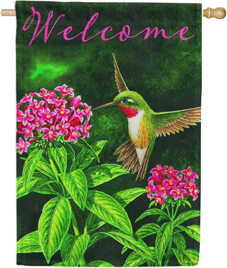 Amazon Com Welcome Hummingbird Spring Summer Standard Size 28 Inch X 40 Inch Decorative Double Sided Flag Copyright And License Custom Decor Inc Made In Usa Home Kitchen