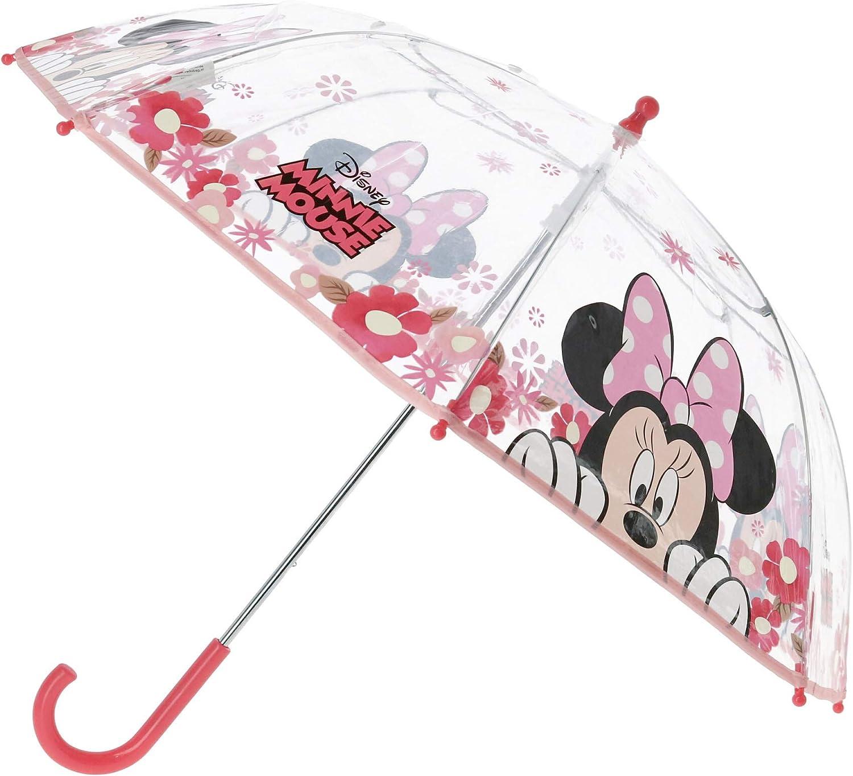 Disney Minnie Maus Kinder Regenschirm Schirm Stockschirm Transparent Ø70cm