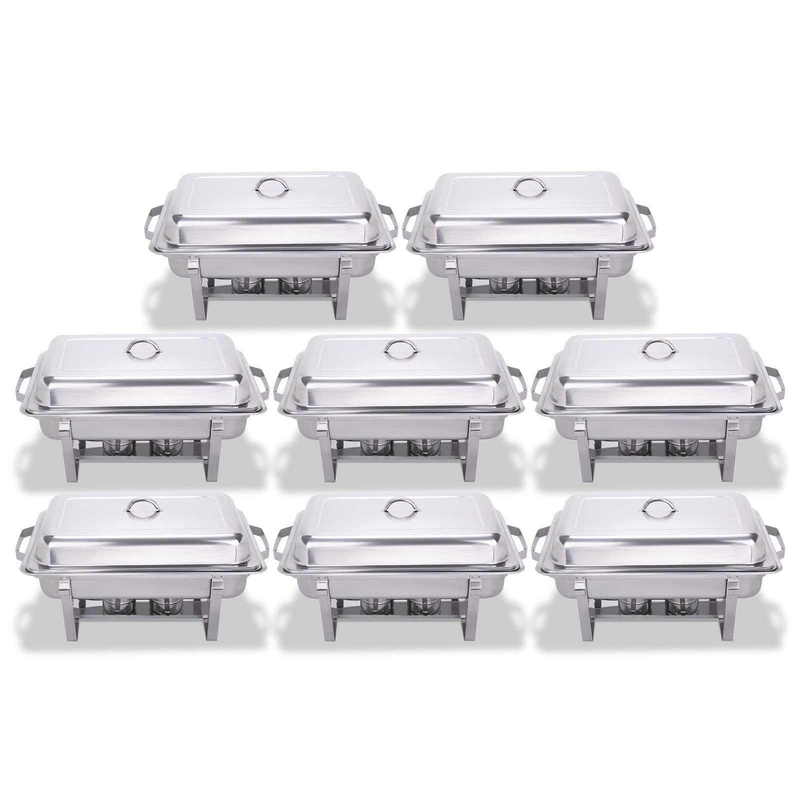 FoodKing Chafing Dish Set of 8 Stainless Steel Chafer Full Size 8 Quart Chafing Dishes for Catering Buffet Warmer Tray Kitchen Party Dining (Set of 8) by FoodKing