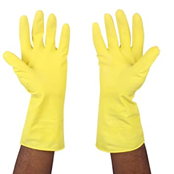 Lowprice Online� REUSABLE LATEX RUBBER HAND GLOVES for Household / Kitchen / Washing/Chemicals (Pairs)