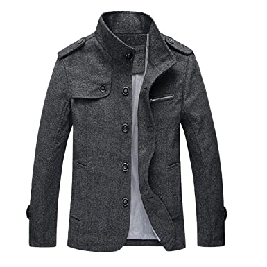 1317fda4e Mirecoo Mens Smart Fit Stand Collar Faux Wool Blend Fleece Borg Sherpa  Lined Coat Buttoned Winter Short Jacket
