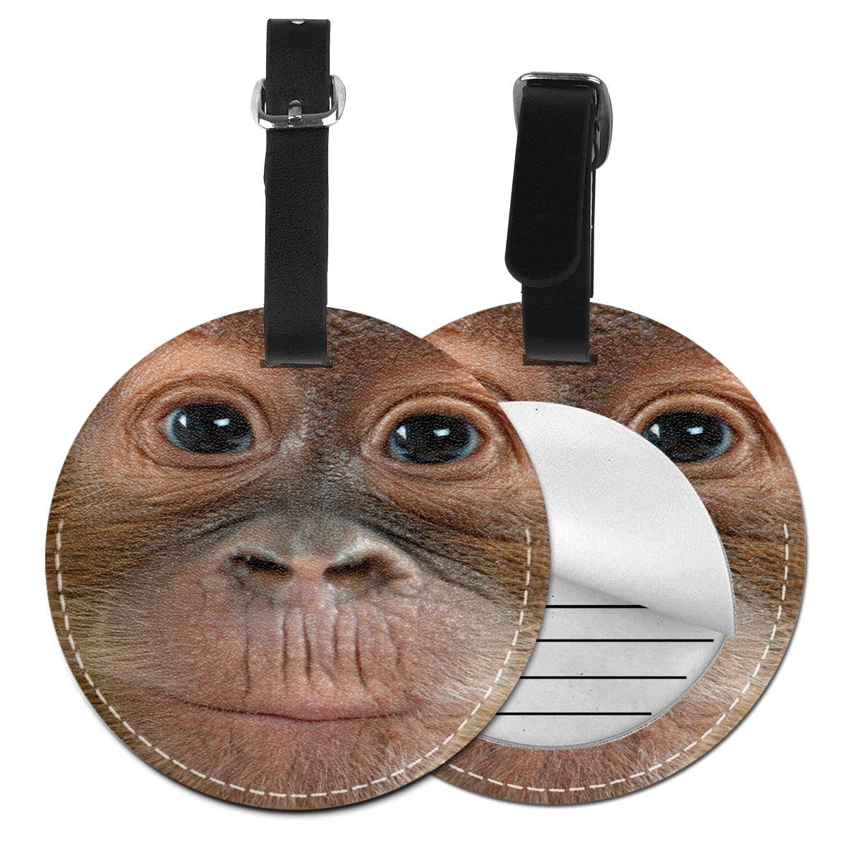 Free-2 Big Face Baby Orangutan Luggage Tag 3D Print Leather Travel Bag ID Card