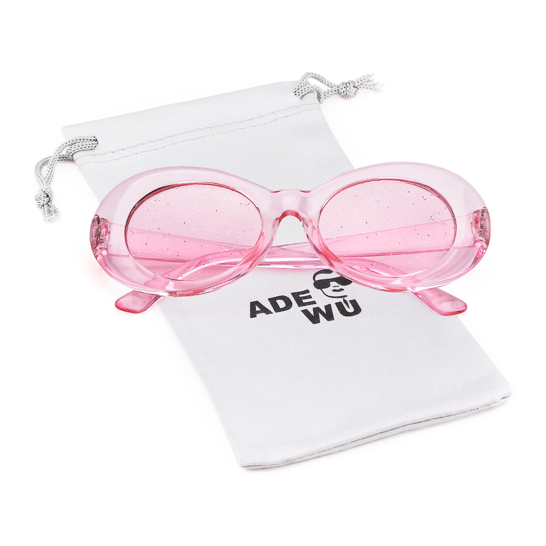 ADEWU Oval Sunglasses Retro Kurt Cobain Clout Goggles for Women Men