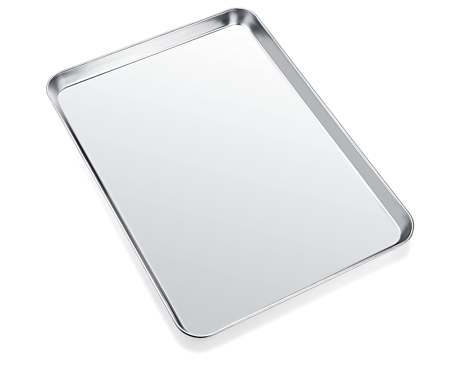 Baking Sheet, Zacfton Cookie Sheet Stainless Steel Toaster Oven Tray Pan Rectangle Size 12 x 10 x 1 inch, Non Toxic & Healthy,Superior Mirror Finish & Easy Clean, Dishwasher Safe (12inch)