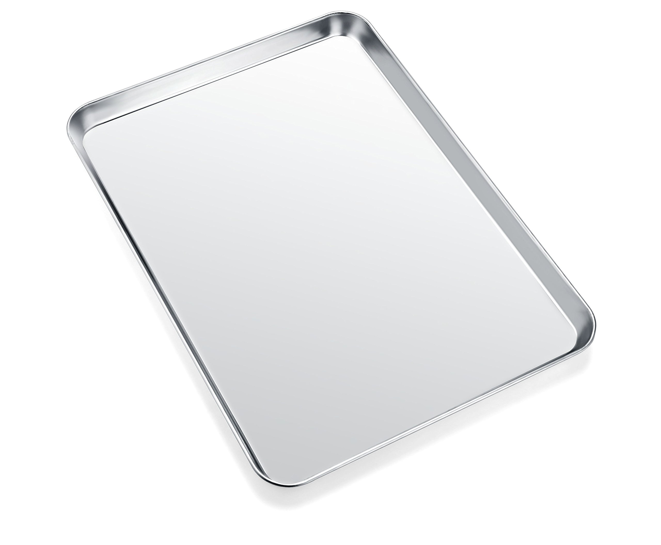 Baking Sheet, Zacfton Cookie Sheet Stainless Steel Toaster Oven Tray Pan Rectangle Size 12 x 10 x 1 inch, Non Toxic & Healthy,Superior Mirror Finish & Easy Clean, Dishwasher Safe (12inch) by Zacfton