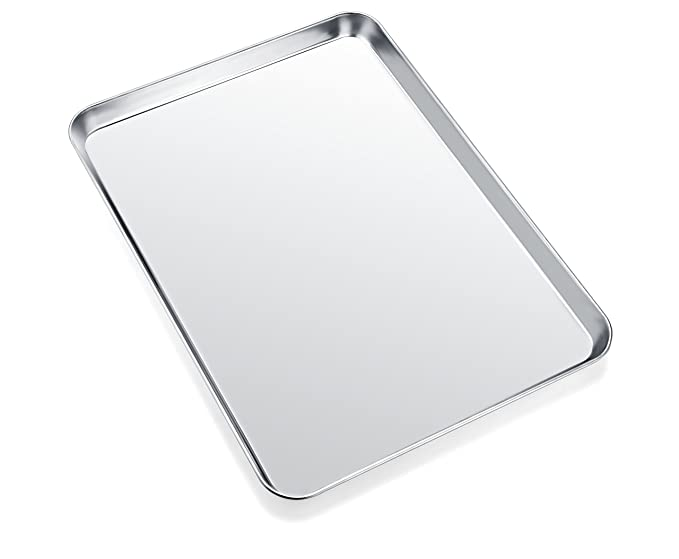 Baking Sheet, Zacfton Cookie Sheet Stainless Steel Toaster Oven Tray Pan Rectangle Size 12 x 10 x 1 inch, Non Toxic & Healthy,Superior Mirror Finish & ...