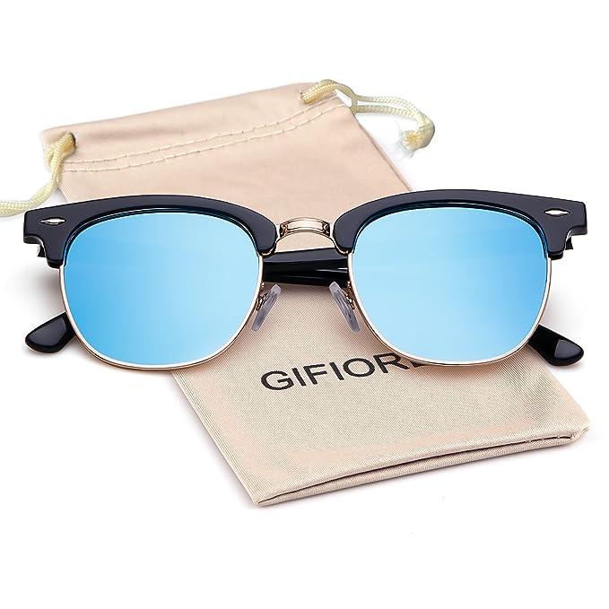 8e702ea3d4 Polarized Sunglasses Clubmaster Semi Rimless Metal Frame Brand Design By  Gifiore 3016