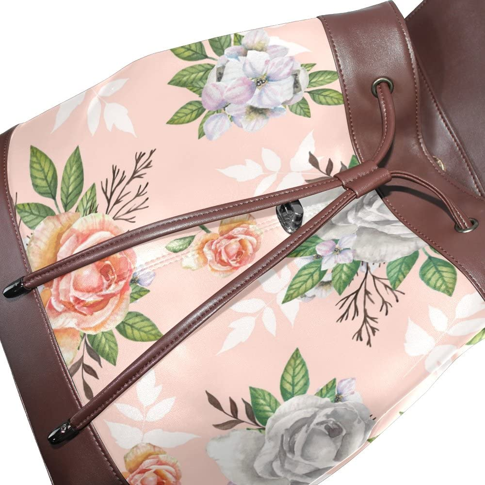 KUWT Pink Pattern with Watercolor Roses PU Leather Backpack Photo Custom Shoulder Bag School College Book Bag Casual Daypacks Diaper Bag for Women and Girl