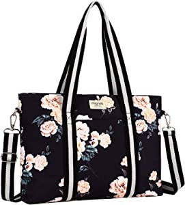 MOSISO Laptop Tote Bag for Women (Up to 17.3 inch), Canvas Multifunctional Work Travel Shopping Duffel Carrying Shoulder Handbag Compatible with MacBook, Notebook and Chromebook, Apricot Peony