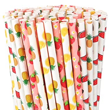 Howaf 110pcs Tropical Fruta Papel Pajas Desechables ...