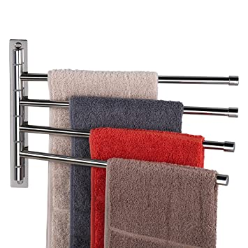 Amazoncom Swing Out Towel Bar With 4 Arms Swivel Towel Rack