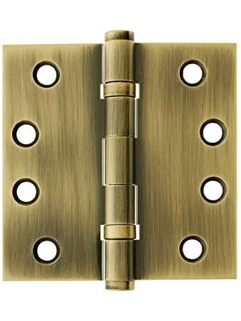 4u0026quot; Solid Brass Ball Bearing Door Hinge With Button Tips In Antique  Brass