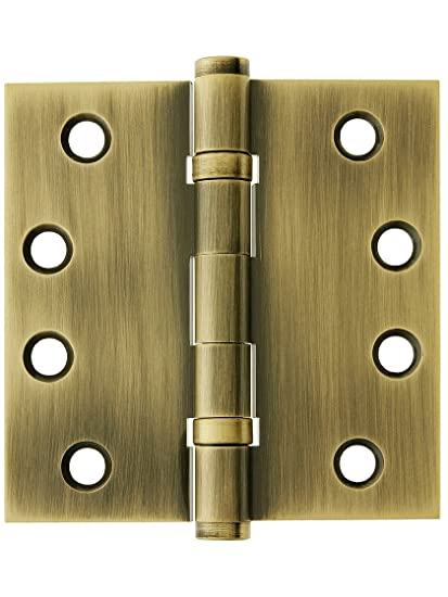 """4"""" Solid Brass Ball Bearing Door Hinge With Button Tips In Antique  Brass - 4"""