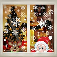 300 PCS 8 Sheet Christmas Snowflake Window Cling Stickers for Glass, Xmas Decals Decorations Holiday Snowflake Santa…