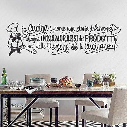 Adesivi Murali Wall Stickers frasi e citazioni sulla Cucina. Aforismi sul  cucinare Bisogna innamorarsi dei prodotti e poi delle persone che li ...