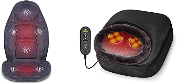 SNAILAX Vibration Massage Seat Cushion Foot Massager Bundle | Heat 6 Vibrating Motors and 3 Therapy Heating Pad