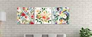 Floral And Botanical Wooden Tableau, 175X175 Cm - Set Of 3 Pieces