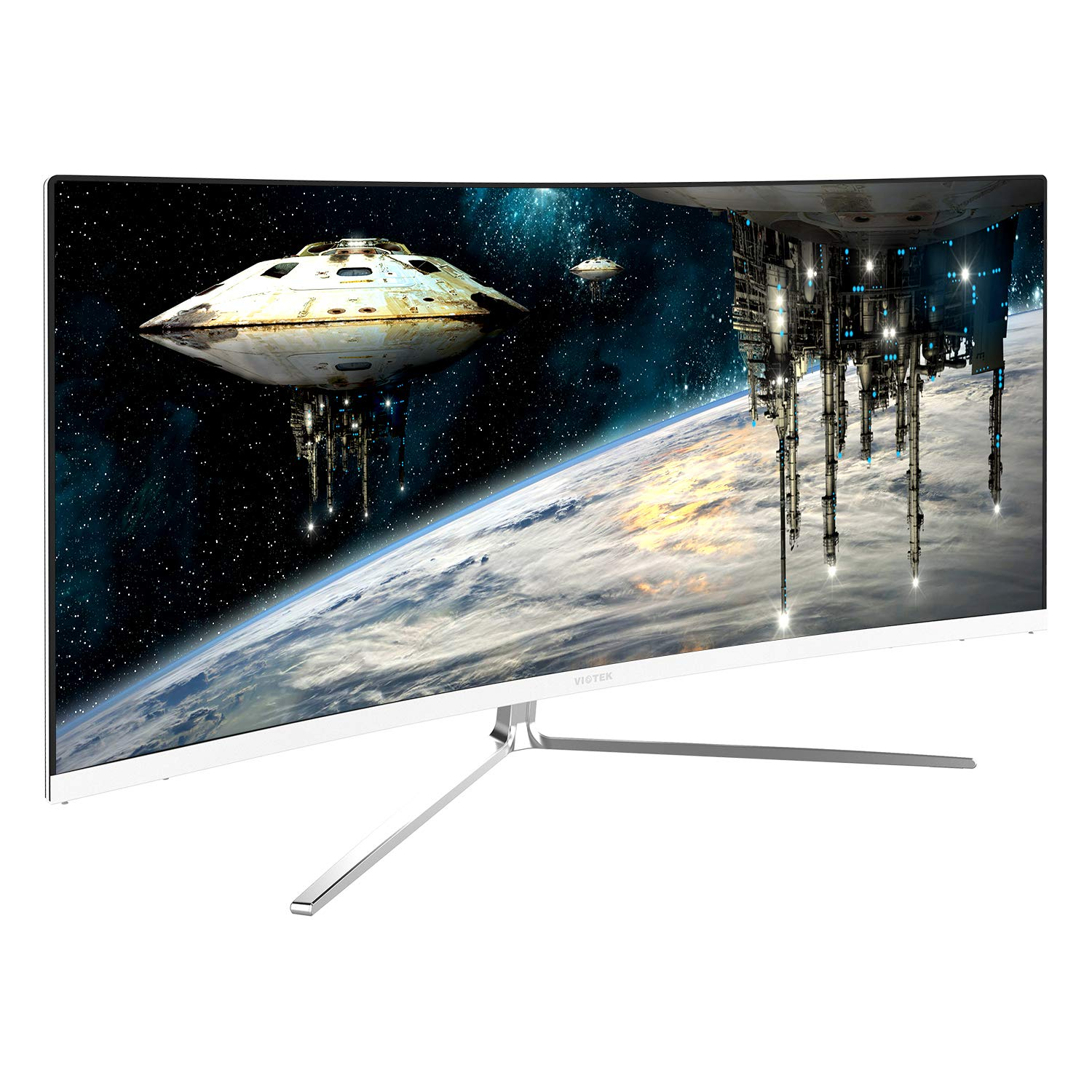 Viotek GN34CW 34-Inch 21:9 Ultrawide Curved QHD Gaming and Professional Computer Monitor, 100Hz 1440p, FreeSync FTS/RTS VESA (White)