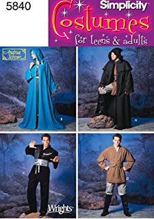 product image for Simplicity Teen's and Adult's Wizard Costume and Ninja Costume Sewing Patterns, Sizes XS-XL