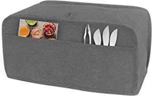LUXJA Toaster Cover for 4 Slice Long Slot Toaster (15.5 x 7.5 x 8 inches), Toaster Cover with 2 Pockets (Fits for Most 4 Slice Long Slot Toasters), Gray