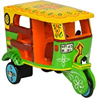 BANI Handmade Colorful Push and Pull Toys Wooden Auto Rickshaw Toy for Kids and Table cum Home Decoration,Gift, handcraft item, handicraft material, corporate gifting, home showcase use,Natural organic color Toys