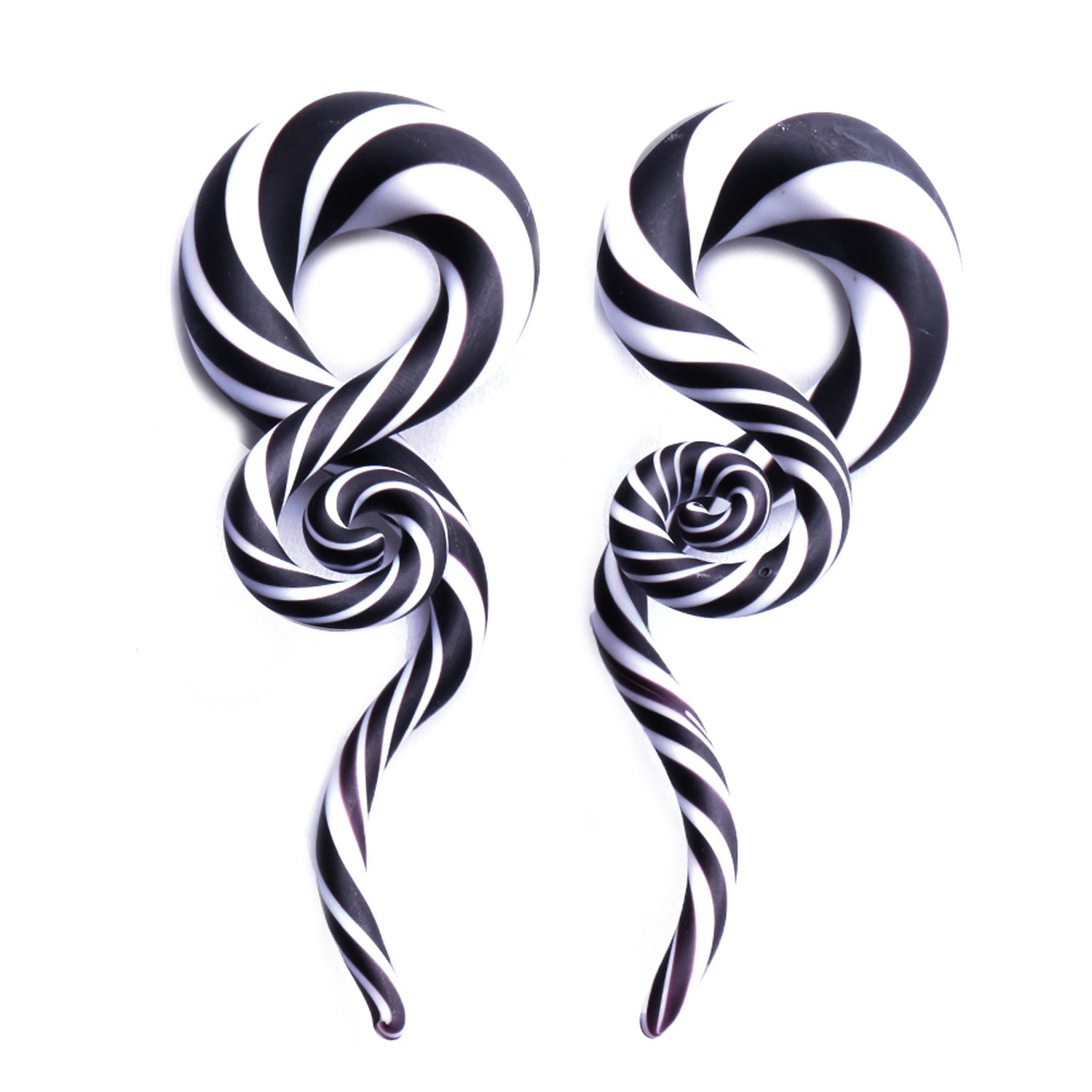 BodyJ4You Glass Taper Swirl Spiral Zebra Stripes Plugs Ear Gauges Treble Hanger 9/16-14mm Stretcher 2PCS TP7088-14mm
