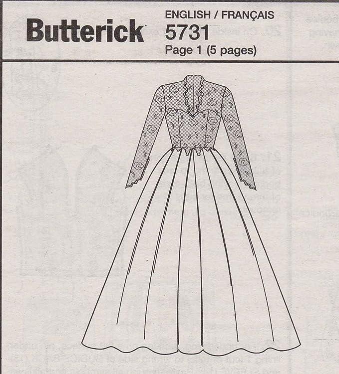 Butterick patrón de costura para patrones de costura para tamaño 249 5731 14-20 Royal ajetreo de tren para vestidos de novia: Amazon.es: Hogar
