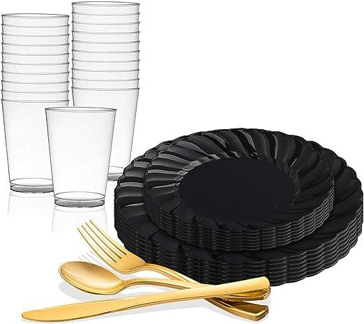Dinner ROSE GOLD Oval Wedding Disposable Plastic Plates /& silverware Set