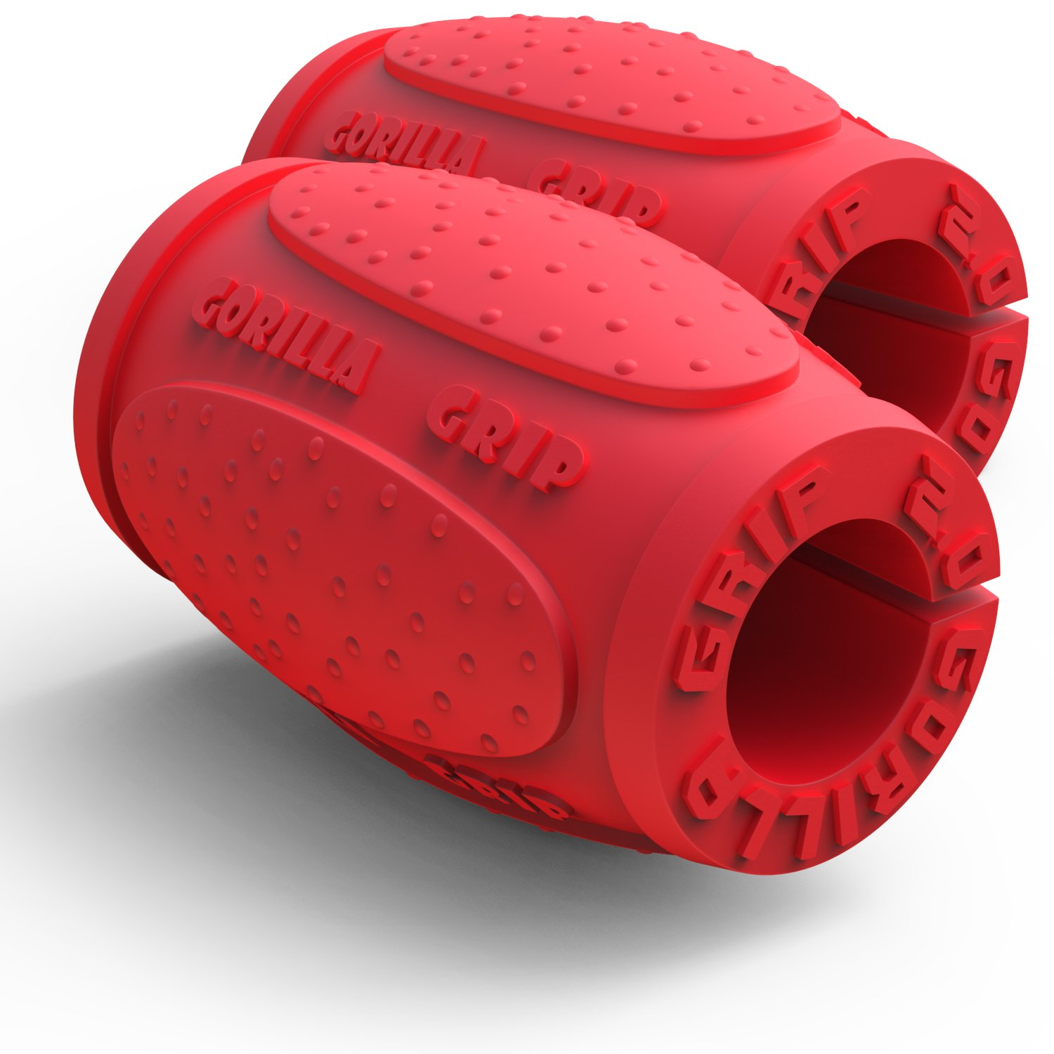 Red 1.0 (Beginner Thick Grip) Gorilla Grip Weightlifting Thick Grips  Fitness Accessory for Barbells, Dumbbells & Kettlebells  Rapidly Strengthen Forearms, Biceps, Chest & Triceps  CrossFit, Bodybuilding and Strongman Training